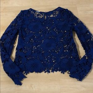 H&M Embroidered Lace Blouse - Navy Blue